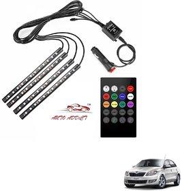 Auto Addict Car Atmosphere Lights interior 48 LED Music Control Remote  For Skoda Rapid