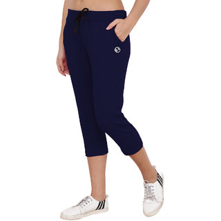Shellocks Solid Cotton Hosiery Lycra Navy Blue Capri for Women