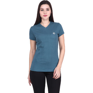Shellocks Solid Cotton Hosiery V Neck Half Sleeves Pine Green T-shirt for Women