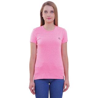 Shellocks Cotton Hosiery Round Neck Half Sleeves Pink T-shirt for Women