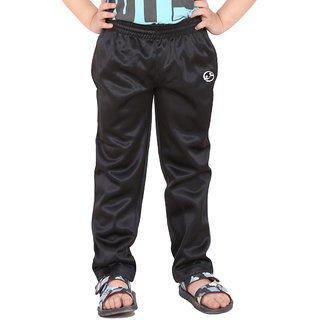 Shellocks Solid Superpoly Black Track Pants for Boys