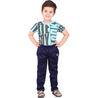 Shellocks Solid Superpoly Navy Blue Track Pants for Boys