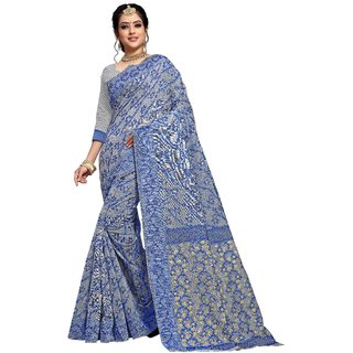Tina Fashion Self Design Jamdani Cotton Silk Saree with blouse