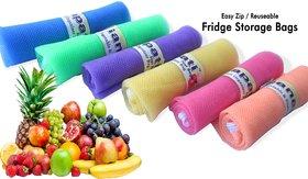 Ganapati Pro Fridge Net Bag for Vegetable  Fruit Storage (Pack of 8) Reusable Multipurpose Organizer.
