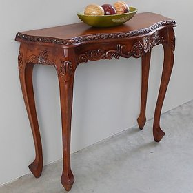 Shilpi Wooden Hand Carved Beautiful Design Decor Royal Console Table