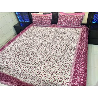 Midnight Trendz-One pure cotton reversible double bedsheet with two pillow cover(LXB)(90X100)