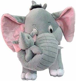riyasharma Mother Elephant With 2 Babies Soft Toy - 38 cm - 24 cm (Brown) - 24 cm  (Grey)v