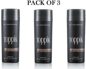 Toppik-kk Hair Building Fiber New Bottle 27.5Gm-dark brown-(pack of 3)
