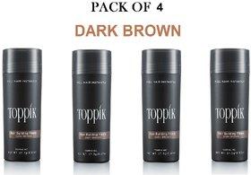 Toppik-kk Hair Building Fiber New Bottle 27.5Gm-dark brown-(pack of 4)