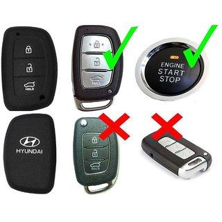 AutoBizarre Silicone Key Cover for Hyundai Creta, I20 Elite/Active, Grand I10, Verna, Xcent Smart Key (for Push Button S