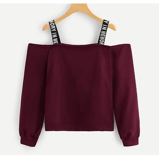 Raabta Maroon Off Shoulder Top With Printed Straps