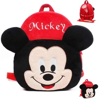 PROERA Mickey Velvet School Bag for Nursery Kids, Age 2 to 5 Waterproof Plush Bag (Red, 14 inch)