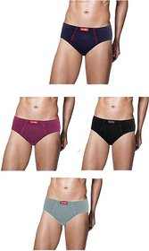 VIP Frenchie Plus Men's Cotton Brief (Assorted Pack of 4)(Colors May Vary) (Non Returnable Item)