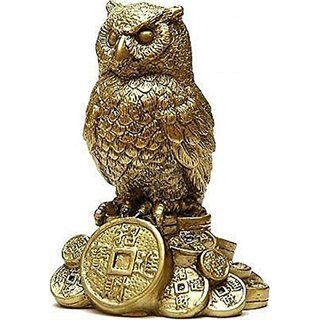 Feng Shui Owl for Money and Wisdom Showpiece - 10 cm (Polyresin, Gold)
