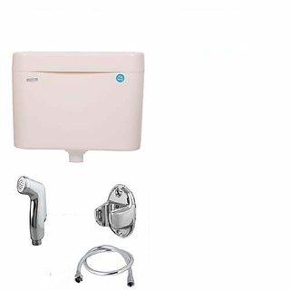 PVC Slim Body Flushing Cistern Flush Tank Ivory 10.Ltr With PVC Kolhar Health Faucet  1.Mtr PVC Full Cp Shower Tube