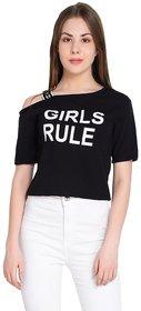 Raabta Fashion Black Girl Rule Printed Round Neck Top With Single Shoulder Streps