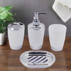 Acrylic Bathroom Accessories Set of 4 - Soap Dispenser, Toothbrush Holder, Soap Dish and Tumbler Set