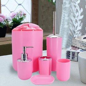 Sanitary Wares Window Bath Series Bathroom Accessories Set of 6 - Pink