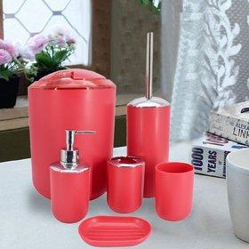 Sanitary Wares Window Bath Series Bathroom Accessories Set of 6 - Red