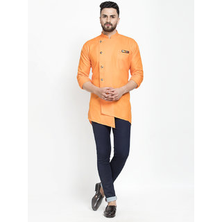 Benstoke mens short orange designer kurta