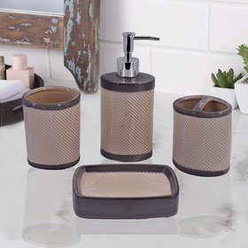 Ceramic Bathroom Accessories Set of 4 - Soap Dispenser, Toothbrush Holder, Soap Dish and Tumbler Set