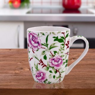 Printed Ceramic Coffee Mug, Flower Design - 325ml (3647G-D)