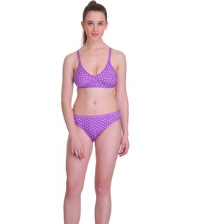 Popocracy Purple Hosiery Polka Print Lingerie Set For Women