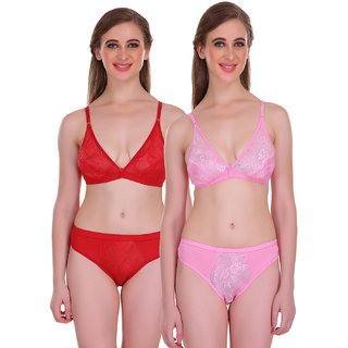Popocracy Red & Pink Net Embroidery Lingerie Set For Women