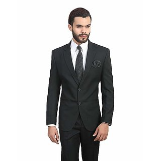 DHINGRA Mens Slim Fit Formal wear Blazer (Black)
