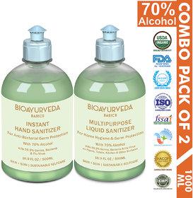 BIOAYURVEDA Instant Hand Sanitizer  Multipurpose Liquid Sanitizer Combo (Each 500 ml) Pack of 2