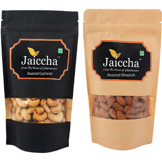 Jaiccha Dryfruits - Roasted Cashews and Roasted Almonds Pouches small 200 gms