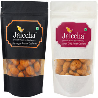 Jaiccha Dryfruits - Pack of 2 Lemon Chilly and Barbeque Protein  Cashews big 400 gms