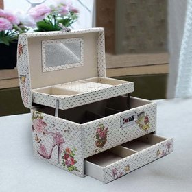Jewelry Organizer Box with Mirror  Pullout Drawer - Flowers  Butterfly Print