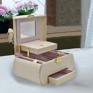 Jewelry Organizer Box with Mirror  Pullout Drawer, Designer - Style 1