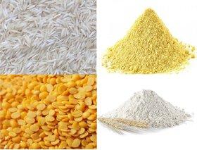 Combo Of Basmati Rice 2 KG, Toor Daal 1 KG, Pure Besan 2 KG and Fresh Chakki Atta 3 Kg