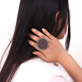 Cippele Bold Flower German Silver Ring For Girls  Women's