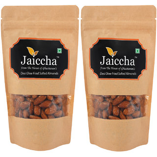 Jaiccha Snacks Dryfruits-Desi Ghee Fried Salted Almonds 400 gms in Brown Paper Pouch