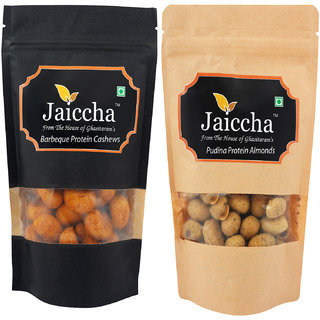 Jaiccha Dryfruits - Pack of 2 Barbeque Cashews and Pudina Protein  Almonds small 200 gms