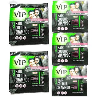 VIP Hair Color Shampoo, Black, 20ml ,(Pack of 5)