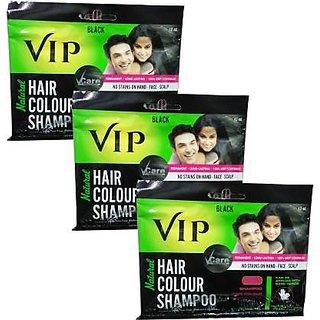 VIP Hair Colour Shampoo, Black, 40ml (Pack of 3)