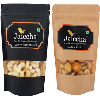 Jaiccha Namkeen Snacks-Pack of 2 Cashew Shaped Biscuits and Tea Time Biscuits