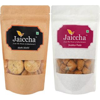 Jaiccha Namkeen Snacks-Pack of 2 Shakkar Pada and Methi Mathi Pouches