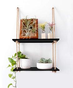 VAH Wall Hanging Shelf, Black Wood Floating Shelves for Wall Rustic Rope Shelves Plant Shelf Farmhouse Decor for Living