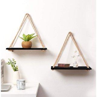 VAH Wall Hanging Shelf, 2 Set of Black Wood Floating Shelves for Wall Rustic Rope Shelves Plant Shelf Farmhouse Decor f