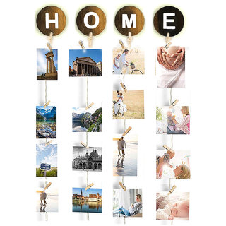 VAH Home Hanging Photo Display Picture Frame Collage Picture Display Organizer with Wood Clips for Wall Decor Hanging Ph