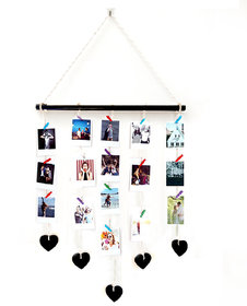 VAH Hanging Photo Display Macrame with Heart  Picture Frame Collage Picture Display Organizer with Wood Clips for Wall D