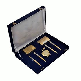 JEWEL FUEL 24K Gold Playing Cards, 4 Gold Plated Ball Pen, Apple Table Clock and Visiting Card Holder Gift Set