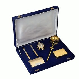 JEWEL FUEL 24K Gold Rose, Playing Cards, Feng-Shui Tortoise, 2 Pen and Visiting Card Holder Gift Set
