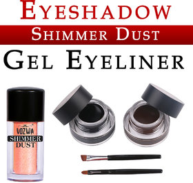 Vozwa Peach Eyeshadow Shining Shimmer Dust and Music Flower Gel Eyeliner (Black Brown)