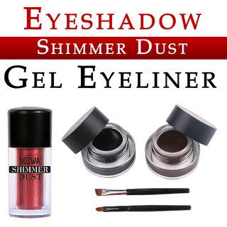 Vozwa Maroon Eyeshadow Shining Shimmer Dust and Music Flower Gel Eyeliner (Black Brown)